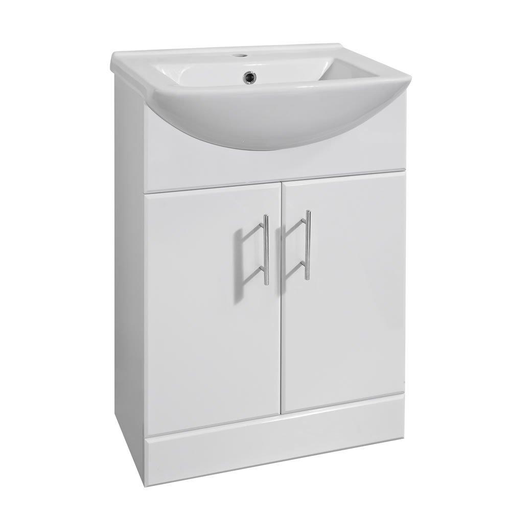 Trueshopping Dova Compact Small White Gloss Bathroom Vanity Unit Basin Sink 550mm Storage Cabinet Ceramic Furniture       Customer review and more description