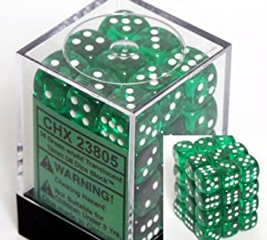 Chessex Dice d6 Sets: Green with White Translucent - 12mm Six Sided Die (36) Block of Dice