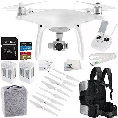 DJI Phantom 4 Quadcopter Drone with Manufacturer Accessories + Extra DJI Intelligent Flight Battery + SanDisk Extreme 32GB microSDHC Memory Card + Backpack Adapter for DJI Phantom 4 Case + MORE