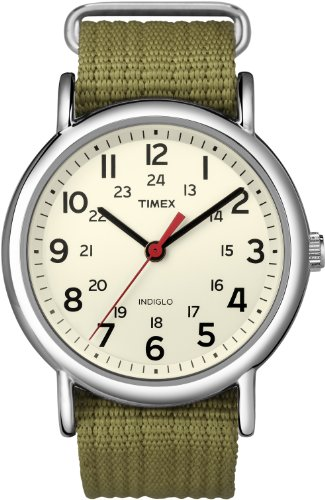 Timex Unisex T2N651KW Weekender Olive Slip Through Strap Watch