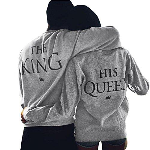 Amlaiworld The King & Queen Carta impresión de manga larga camisa de pareja