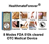 Lifetime warranty,Tens Handheld Electronic Pulse Massager Unit for Electrotherapy Pain Management FDA cleared TENS unit HealthmateForever 8 modes palm digtal massager for pain relief, therapy machine device unit Healthmate Forever HM8G blue color