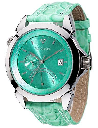 Yves Camani - YC1066-D - Montre Mixte - Quartz Analogique - Deux fuseaux horaires - Bracelet Cuir Vert