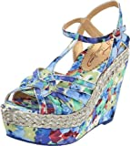 Poetic Licence Women's Arm Candy Wedge Sandal,Blue Silver,8 M US(39 EU), Shoes Direct