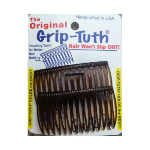 Good Hair Days Grip Tuth Combs 40405 Set of 2, Tortoise Shell Color 2 3/4 Wide (Color: Tortoise, Tamaño: LG)