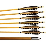 12 Pack Pure Handmade Pheasant Turkey Feather Fletching Wooden Shaft Arrows Practice Target Arrows With Silver Point For Traditional Recurve Bow Or Longbow