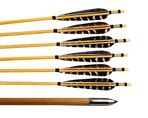 Huntingdoor-12-Pcs-Turkey-Feather-Fletching-Wooden-Target-Arrows-with-Field-Points-for-Recurve-Bow-or-Longbow
