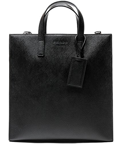 Prada Men's Textured Real Leather Tote Bag One Size Black