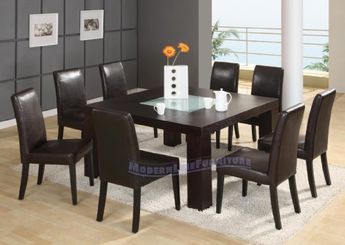 modern furniture wenge square dining table w frosted middle glass 8
