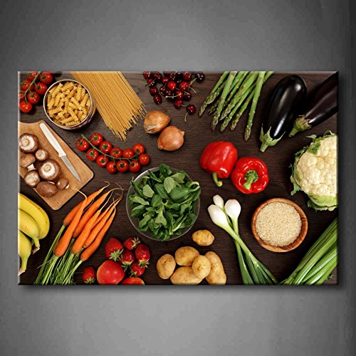 First Wall Art - Fresh Look Color Healthy Eating Of A Table Top Full Of Fresh Vegetables Fruit And Other Healthy Foods Wall Art Painting Pictures Print On Canvas Fruit The Picture For Home Modern Decoration (Stretched By Wooden Frame,Ready To Hang) (Food And Beverage Wall Art compare prices)