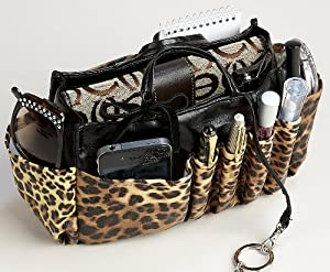 Amazon.com: Jolie Leopard And Black Handbag Organizer Tote Travel Cosmetic Make-up Bag Very Lightweight Insert Dimensions: L 7.5x H 6x W 3.5: Health & Personal Care