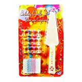 The Candle Shop Multicolor 24 Birthday Candles With Cake Server