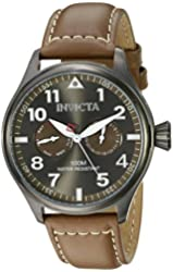 Invicta Men's 18513SYB I-Force Stainless Steel Watch With Brown Leather Band