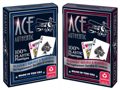Cartamundi 1060 Ace 100% Plastic Playing Cards Assorted Colors