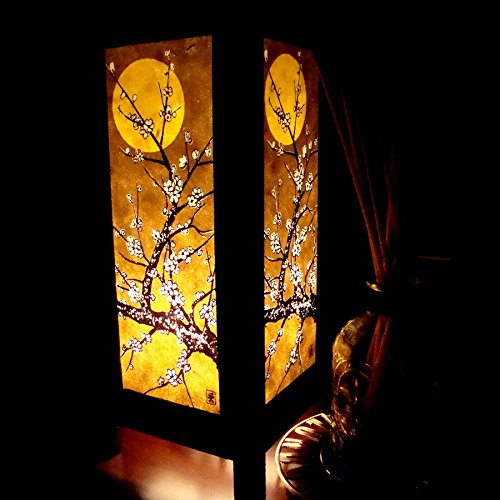 Moon Sakura Table Lamp Lighting Shades Floor Desk Outdoor Touch Room Bedroom Modern Vintage Handmade Asian Oriental Wood Bedside Gift Art Home Garden Christmas; Free Adapter; Us 2 Pin Plug #98 (Moon Table compare prices)