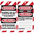 "NMC SPLOTAG12 ""DANGER - EQUIPMENT LOCK-OUT A LIFE IS ON THE LINE"" Bilingual Lockout Tag, Unrippable Vinyl, 3"" Length, 6"" Height, Black/Red on White (Pack of 10)"