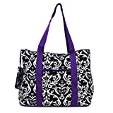 Damask Purple Trim Tote Bag Extra Large