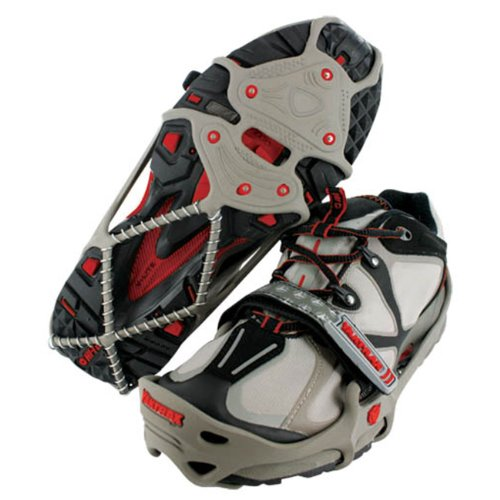 Yaktrax Run Traction Cleats for Snow and Ice, Gray/Red, Medium