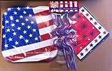 Patriotic Americana Table Setting Pack 14 Plates, 20 Dinner Napkins, 6 Red White Blue Krazy Straws