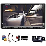 Double Din Universal In Dash HD Touch Screen Car DVD Player GPS Navigation Stereo AM/FM Radio Support SD/USB/Bluetooth/1080P/steering wheel control/Phonebook and night view backup Camera As Gift