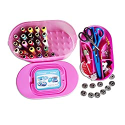 Kurtzy Sewing Kit Includes Automatic Needle Threader - Trimmer - Threads - Needles - Bobbin Case - Bobbins - 9 Scissors And Other Accessories