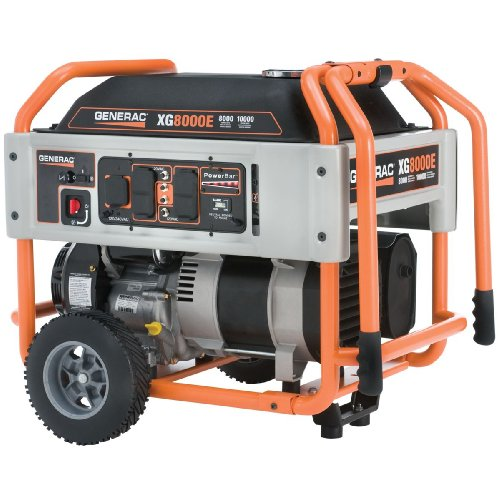 Generac 5747 XG8000E 8,000 Watt Continuous - 10,000 Watt Surge/Peak Load 410cc OHV Gas Powered Portable Generator With Wheel Kit And Electric Start