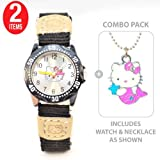 Hello Kitty Girl's Learn to tell time watch in BLACK with Hello Kitty Mermaid Necklace -- COMBO PACK Reviews