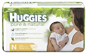 Huggies Pure & Natural Diapers, Size N (Up to 10 lb), Disney Baby, Jumbo, 30 ct.