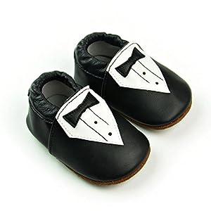 iPretty Zapatos de Cuero Suave Genuino de Bebé Niño para Primero Paso Preandador Zapatillas Lindos Beatiful para Infatil Tie (0-24 Meses) - BebeHogar.com