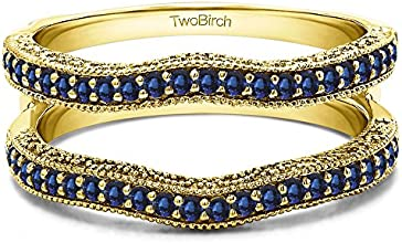 10k Gold Vintage Ring Guard with Millgrain and Filigree with Sapphire 074 ct twt