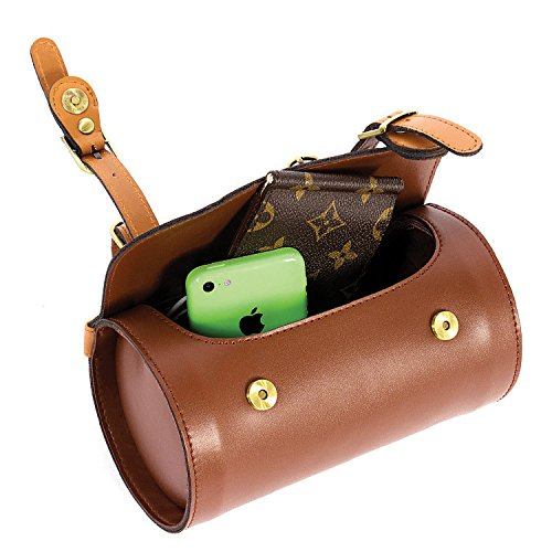 Comfortable Soft Vintage Bicycle Saddle Tail Handlebar Tools Bag, Cylindrical, Handmade 2