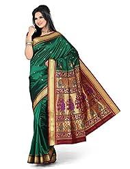 ISHIN Paithani Tana Silk Saree Green STCS-67