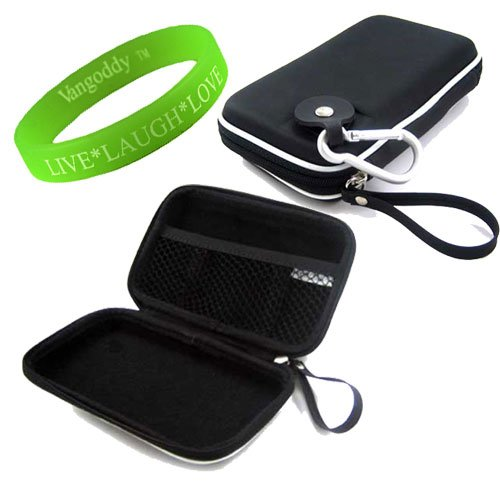 Portable Hard Drive Computer Accessories Hard Cube Protective Carrying Case in Rubberized Stealth Black **Fits WD My Passport for Mac Portable Hard Drives** + VanGoddy LIVE * LAUGH * LOVE Wristband