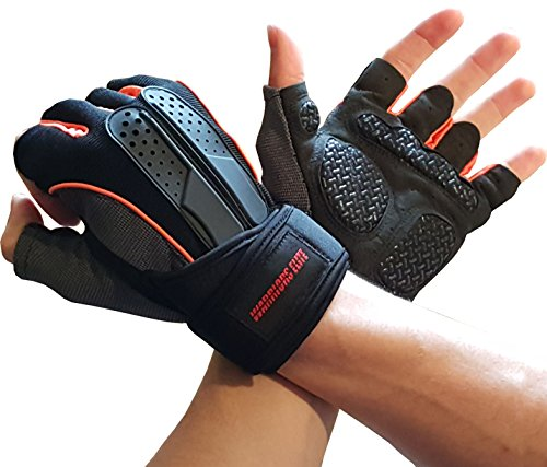 Workout-Exercise-Gloves-for-Gym-Weightlifting-Crossfit-Training-Bodybuilding-Gloves-for-Men-Women-W-Wrist-Strap-Support-Breathable-Comfort-Workout-Gloves-for-Physical-Fitness-Orange-Large