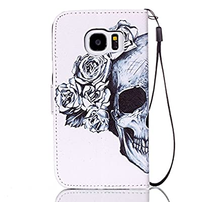 Urberry S7 Wallet Case, Skull and Flower Print Case for Samsung Galaxy S7, Shock-proof Case with a Free Phone Bracket
