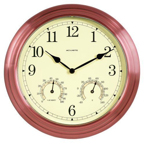 Chaney Instrument 14-Inch Copper Clock/Thermometer/Hygrometer