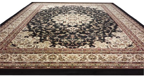 D603 Medallion Traditional Black 5x8 Actual Size 5'3x7'2 Rug