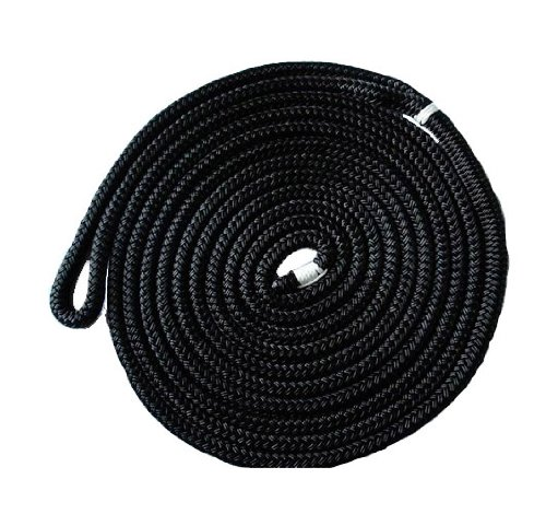 Norestar Double Braided Nylon Marine Dock Line/Boat Mooring Rope, 50 feet by 5/8 inch, Black Marine Grade Nylon Ropes