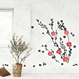 Red Flowers - Large Wall Decals Stickers Appliques Home Decor