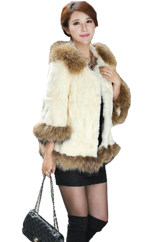 queenshiny Damen 100% Echte Rex Kaninchen Pelz mantel Jacken Mit Waschbär Pelz kragen Winter Mode jetzt kaufen