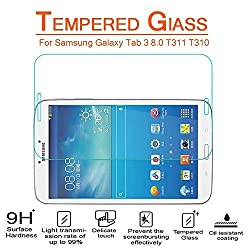 AnoKe Samsung GALAXY Tab 3 8.0 (8 Inch, 2013 Model) t311 t310 Tempered Glass Screen Protectors 9h Hardness, 0.3mm Thickness For T3110,T3100,T311