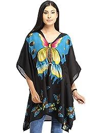Exotic India Black Short Kaftan With Printed Butterflies And Dori At Waist
