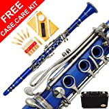 150-BU - ROYAL BLUE/SILVER Keys Bb B flat Clarinet Lazarro+11 Reeds,Case,Care Kit~24 COLORS Available,CLICK on LISTING to SEE All Colors