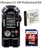 Olympus LS-100 Multi Track PCM Recorder + LexSpeed 4GB Class 10 SDHC Memory Card + Spare LI-50B Rechargeable Li-Ion Battery