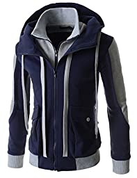 TheLees (LCJ11) Mens Casual Slim Fit Hood Cotton Jacket NAVY US M(Tag size XL)