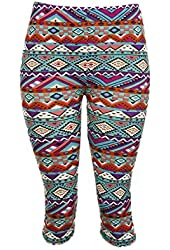 Colorful Aztec Print Capri Leggings - One Size