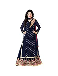 Navy Blue Faux Georgette Designer Party Wear Straight Suit