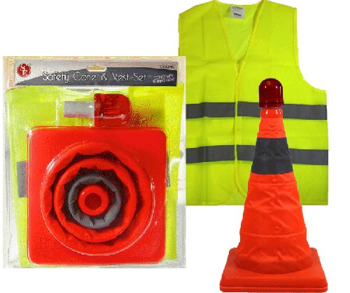 3-Pc Flashing Folding Safety Cone & Reflective Vest Road Emergency Set