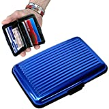 Porte-Cartes *BLEU* Carte Bleue CB Visite Aluminium Rigide Secutity Credit Card Wallet Holder *BLEU*