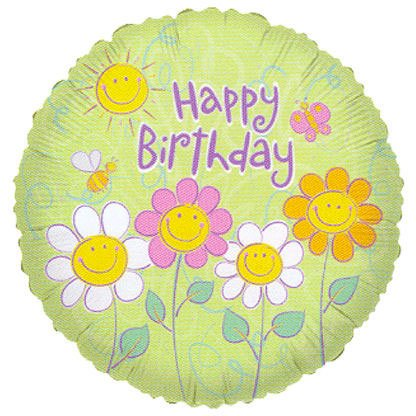 "18"""" Sl Smiling Flowers Birthday Balloon - 1"